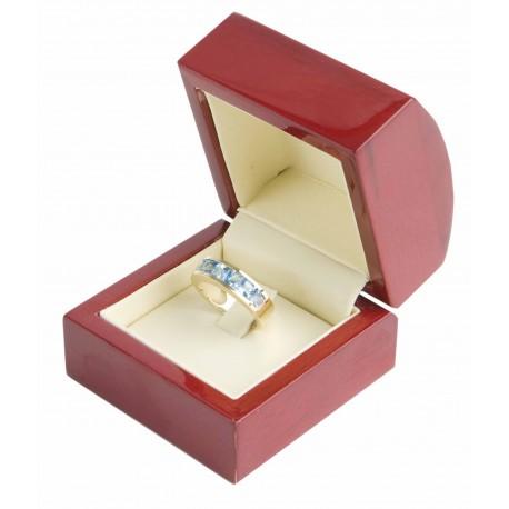 Estuche de madera para anillo sortija de joyeria