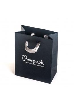 Bolsa de papel con asa de cinta de raso para joyeria bisuteria y relojeria BQ-M