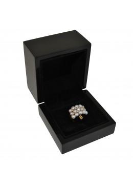 Estuche de madera lacada para anillo sortija grande con interior de patilla de alta gama de joyeria y joyas M33
