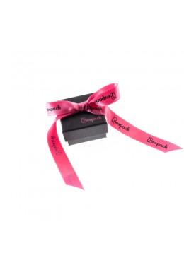 Caja de carton con lazo forrada de papel para anillo sortija de joyeria y bisuteria LEP-42