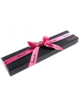 Caja de carton con lazo forrada de papel para pulsera de joyeria y bisuteria LEP-51