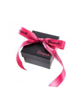 Caja de carton con lazo forrada de papel para brazalete o reloj de joyeria y bisuteria LEP-89