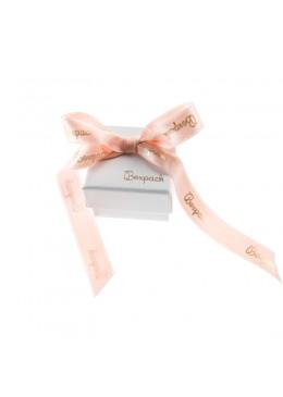 Caja de carton con lazo forrada de papel para anillo sortija de joyeria y bisuteria LIP-42