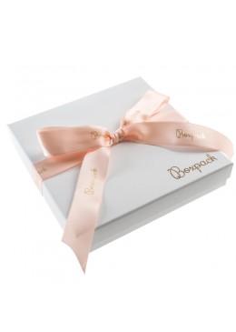 Caja de carton con lazo forrada de papel para collar o aderezo de joyeria y bisuteria LIP-18