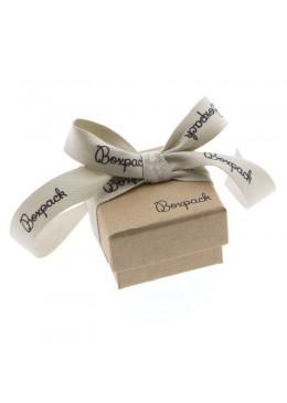 Caja de carton con lazo forrada de papel para anillo sortija de joyeria y bisuteria LNT-42