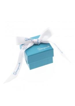 Caja de carton con lazo forrada de papel para anillo sortija de joyeria y bisuteria LSH-42