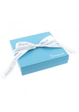 Caja de carton con lazo forrada de papel para collar o aderezo de joyeria y bisuteria LSH-18