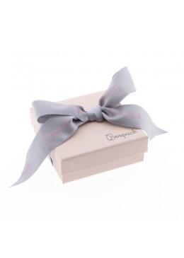 Caja de carton rosa cuarzo con lazo forrada de papel para juego y colgante de joyeria y bisuteria LPI-81