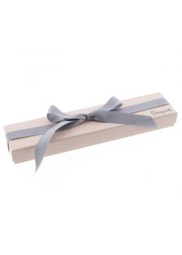 Caja de carton rosa cuarzo con lazo forrada de papel para pulsera de joyeria y bisuteria LPI-51