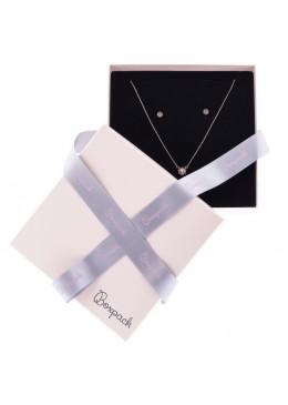 Caja de carton rosa cuarzo con lazo forrada de papel para collar o aderezo de joyeria y bisuteria LPI-18