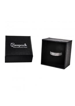 Caja de carton negra forrada de papel para anillo sortija de joyeria y bisuteria