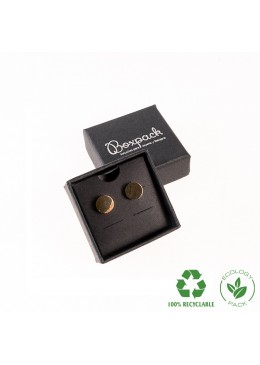 Caja ecológica de cartón para pendientes omega de joyería y bisutería color negro E-EP-41-PO-N