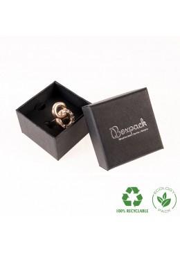Caja ecológica de cartón para anillo sortija de joyería y bisutería color negro E-EP-42-N