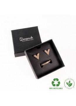 Caja ecológica de cartón para juego con colgante de joyería y bisutería color negro E-EP-61-N