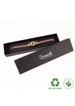 Caja ecológica de cartón para pulsera de joyería y bisutería color negro E-EP-51-N
