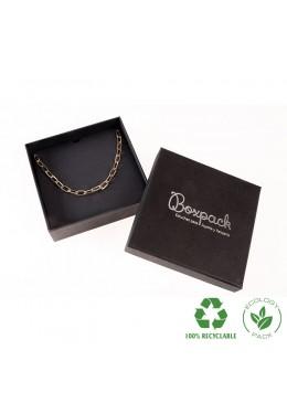 Caja ecológica de cartón para collar o aderezo de joyería y bisutería color negro E-EP-17-N