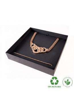 Caja ecológica de cartón para collar o aderezo de joyería y bisutería color negro E-EP-18-N