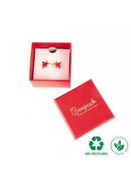 Caja ecológica de cartón para anillo de joyería y bisutería color rojo E-EP-41-PO-R