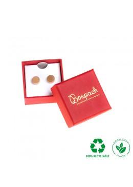 Caja ecológica de cartón para pendientes de joyería y bisutería color rojo E-EP-41-P-R