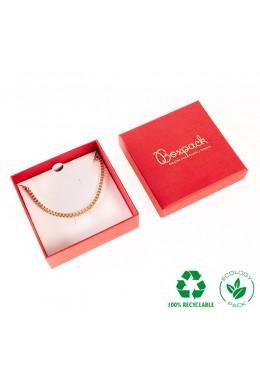 Caja ecológica de cartón para juego con colgante de joyería y bisutería color rojo E-EP-81-R