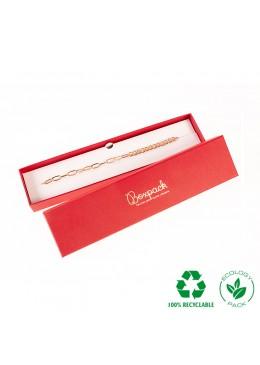 Caja ecológica de cartón para pulsera de joyería y bisutería color rojo E-EP-51-R
