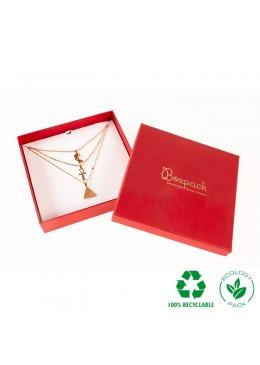 Caja ecológica de cartón para collar o aderezo de joyería y bisutería color rojo E-EP-18-R