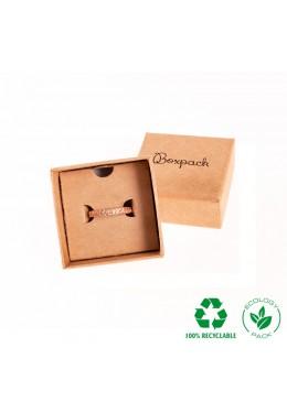 Caja ecológica de cartón para anillo sortija de joyería y bisutería color kraft E-NT-42