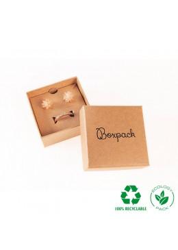 Caja ecológica de cartón para juego con colgante de joyería y bisutería color kraft E-NT-61