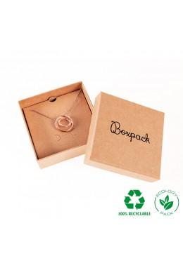 Caja ecológica de cartón para juego con colgante de joyería y bisutería color kraft E-NT-81