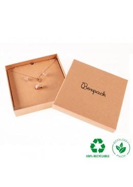 Caja ecológica de cartón para collar o aderezo de joyería y bisutería color kraft E-NT-18