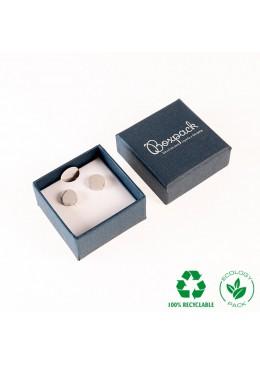 Caja ecológica de cartón para pendientes omega de joyería y bisutería color azul E-EP-41-PO-A