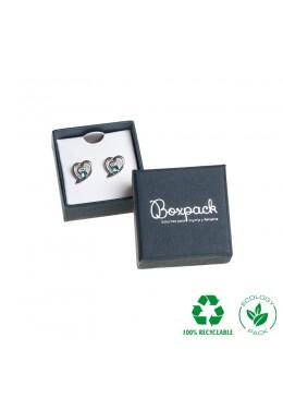 Caja ecológica de cartón para pendientes de joyería y bisutería color azul E-EP-41-P-A
