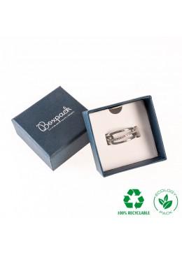 Caja ecológica de cartón para anillo de joyería y bisutería color azul E-EP-42-A
