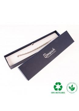 Caja ecológica de cartón para pulsera de joyería y bisutería color azul E-EP-51-A
