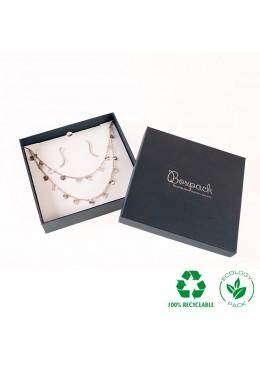 Caja ecológica de cartón para collar de joyería y bisutería color azul E-EP-18-A