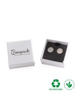 Caja ecológica de cartón para pendientes omega de joyería y bisutería color blanco E-MP-41-PO