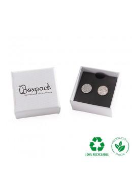 Caja ecológica de cartón para pendientes de joyería y bisutería color blanco E-MP-41-P