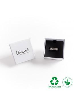 Caja ecológica de cartón para anillo sortija de joyería y bisutería color blanco E-MP-42