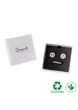 Caja ecológica de cartón para juego con colgante de joyería y bisutería color blanco E-MP-61