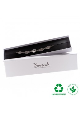 Caja ecológica de cartón para pulsera de joyería y bisutería color blanco E-MP-51