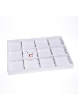 Bandeja de 12 colgantes de joyería, bisutería y joyas color blanco 315x225x30 mm BJ-12C