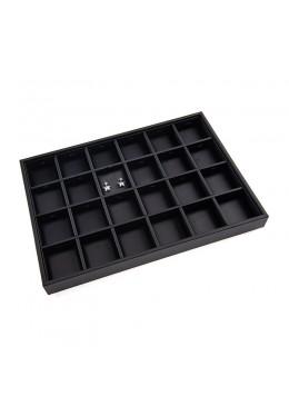 Bandejas de 24 pares de pendientes de joyería, bisutería color negro 315x225x30 mm BJ-24P