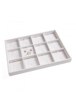 Bandeja para 12 conjuntos de anillo, pendientes y colgante de joyería y bisutería color blanco 315x225x30 mm BJ-12J