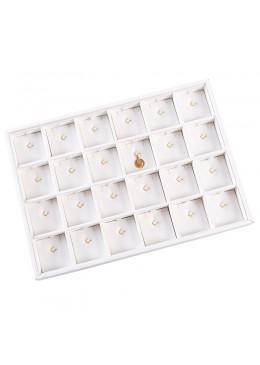 Bandeja de 24 colgantes con gancho blanca para joyería, bisutería y joyas 315x225x30 mm BT-24CG