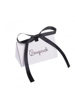 Caja de carton automontable con lazo para joyas bisuteria y joyeria color blanca