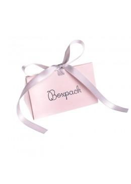 Caja de carton automontable con lazo para joyas bisuteria y joyeria color rosa cuarzo