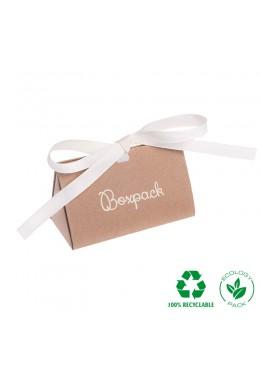 Caja de carton automontable ecologica con lazo para joyas bisuteria y joyeria color kraft