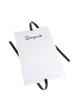 Caja de carton automontable con lazo para joyas bisuteria y joyeria color blanca desplegada