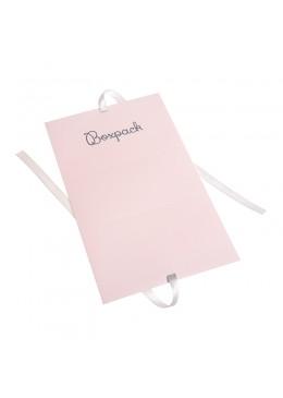Caja de carton automontable con lazo para joyas bisuteria y joyeria color rosa cuarzo fl-2-r desplegada