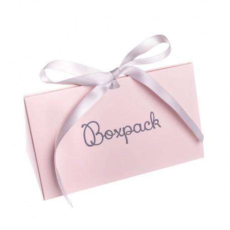 Caja de carton automontable con lazo para joyas bisuteria y joyeria color rosa cuarzo fl-2-r